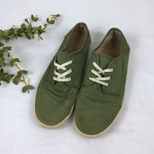 Toms Mens Green Tennis Shoes Lace Up Size 10